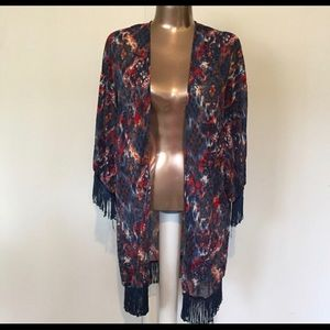 Blue & Red Fringed Kimono/Cover